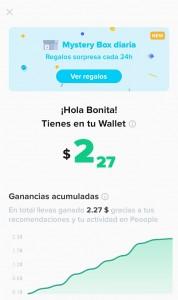 Pantalla que muestra las ganancias de invitar usuario a Peoople